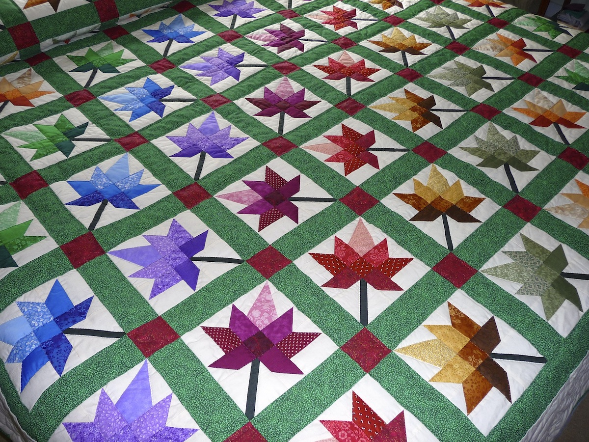 Quilt Pattern For Maple Leaf : Maple Leaf Autumn Splendour Quilt - Amish Quilts for Sale by Amish Spirit