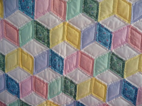 Baby Quilt Blocks.Tumbling Blocks Baby Quilt