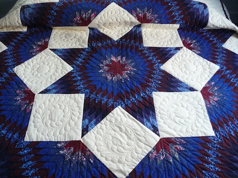 Amish Handmade Quilt Broken Star Pattern