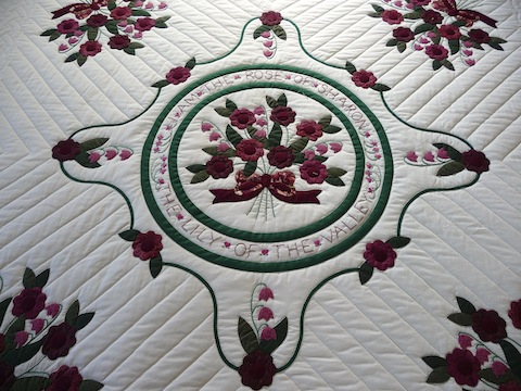Amish Handmade Quilt Rose of Sharon Pattern