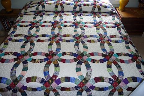 Hand quilted Double Wedding Ring Quilt