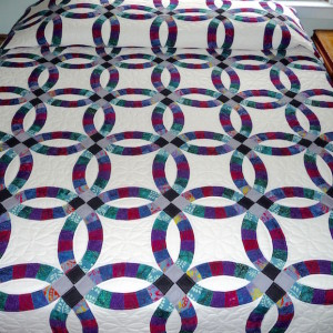 Calico Double Wedding Ring Amish Quilt