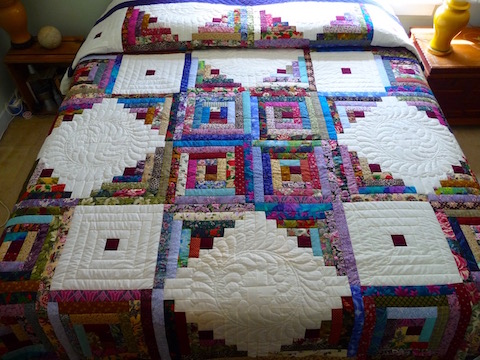 Star Log Cabin Amish Quilt