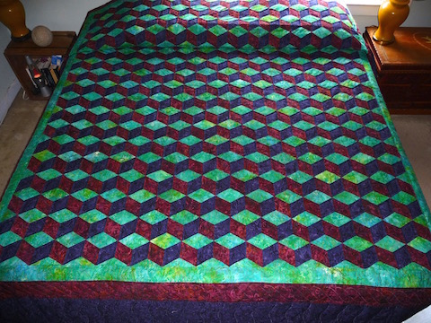 Handmade Amish Quilt Tumbling Blocks Pattern