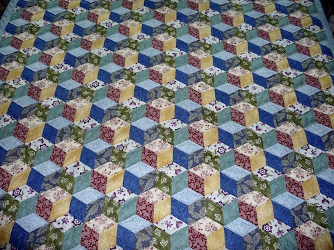 Amish quilt for sale Tumbling Blocks quilt pattern
